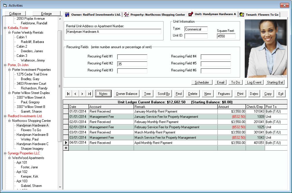 Tenant File Activities Screen